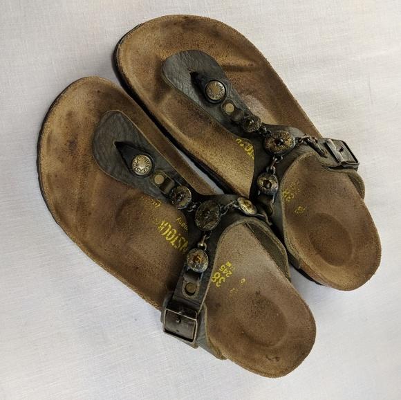 c1852bbfee6 Birkenstock Shoes - Birkenstock Gizeh Chain Cortina Leather 38 N 7 7.5